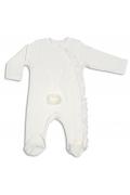 Tomuycuk Bebe Tavşan İşlemeli Beyaz Organik Pamuk Çıtçıtlı Tulum