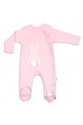 Tomuycuk Bebe Tavşan İşlemeli Pembe Organik Pamuk Çıtçıtlı Tulum