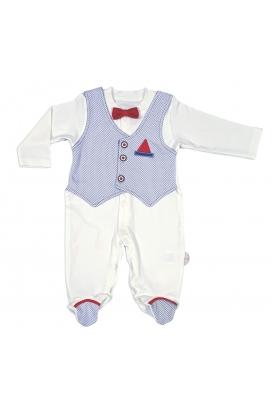 Tomuycuk Bebe Yelekli Papyonlu Mavi Organik Pamuk Çıtçıtlı Tulum