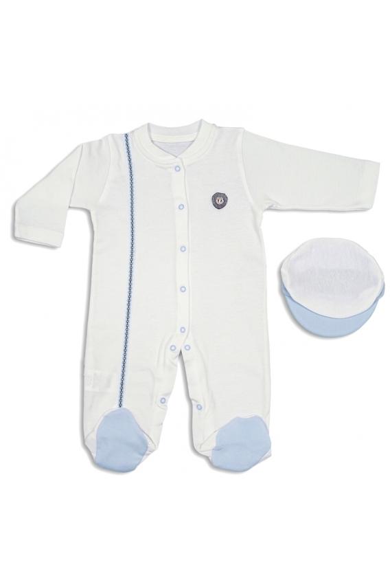 Tomuycuk Bebe Şapkalı Mavi Beyaz Organik Pamuk Çıtçıtlı Tulum