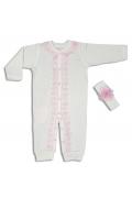 Tomuycuk Bebe Bandanalı İşlemeli Organik Pamuk Çıtçıtlı Tulum