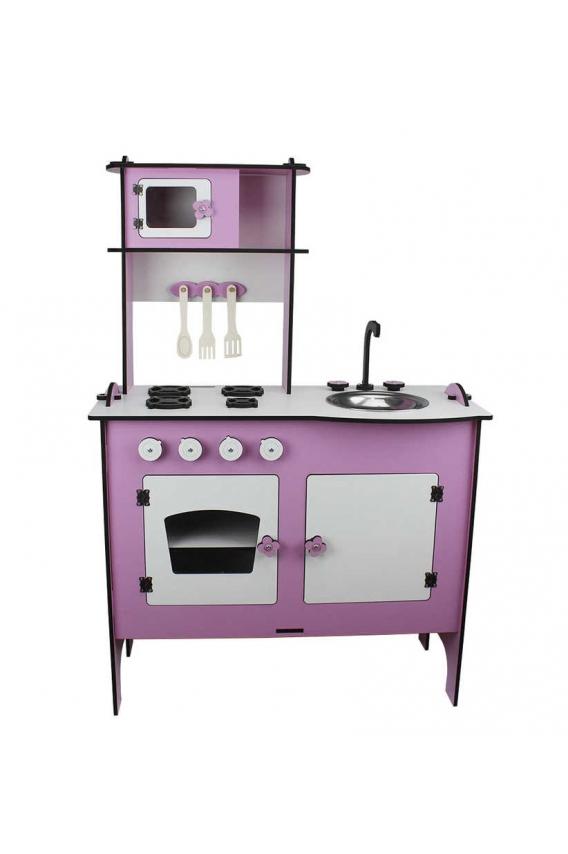 Amazingo Montessori Doğal Ahşap Çocuk Büyük Mutfak Dolap Seti