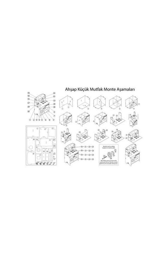 Amazingo Montessori Doğal Ahşap Çocuk Küçük Mutfak Dolap Seti