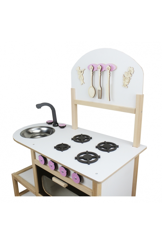 Amazingo Montessori Doğal Ahşap Çocuk Oyun Mutfak Dolap Seti